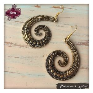 Antiqued Gold intricate spiral dangle earrings